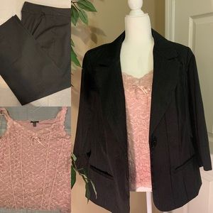 3 PC Suit pants jacket lace tank pinstriped sz 16w